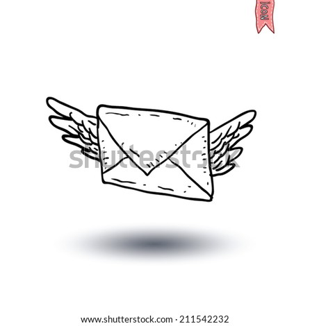 Envelope Mail Icon, Hand-drawn vector illustration - stock vector