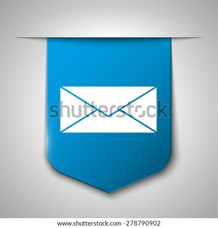 Envelope Mail icon, vector illustration icon on blue book bookmark. Flat design style - stock vector