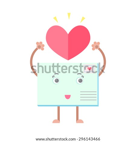 Envelope mail letter smiling character heart love - stock vector