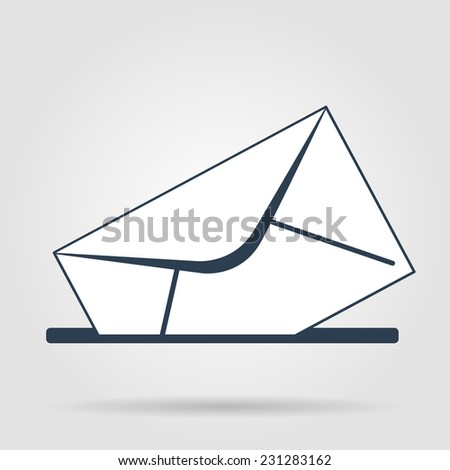 envelope mail symbol on gray background. Vector - stock vector