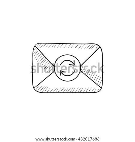 Envelope mail with refresh sign vector sketch icon isolated on background. Hand drawn Envelope mail with refresh sign icon. Envelope mail with refresh sign sketch icon for infographic, website or app. - stock vector