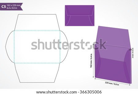 Envelope template for cutting machine. Standard c5 size box-envelope template for wedding or business stationery. - stock vector