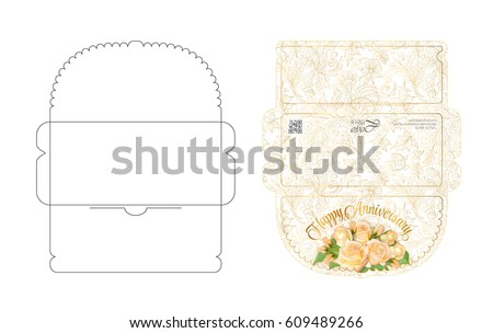 Envelope Template Flap Design Easy Fold Stock Vector