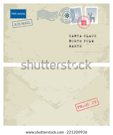 Envelope to Santa - stock vector