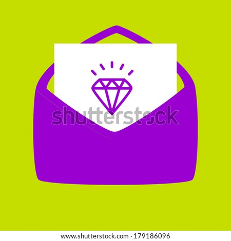envelope with a  Diamond. Send a letter about   Diamond. - stock vector