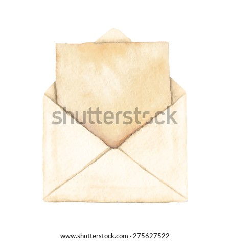 Envelope with a letter - painted in watercolor. Vectorized watercolor illustration.