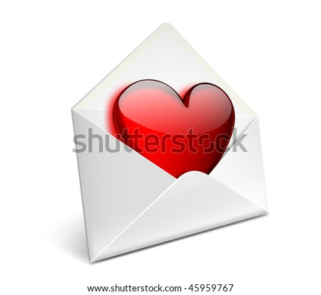 Envelope with glassy red heart for valentine day - EPS 10 vector icon - stock vector
