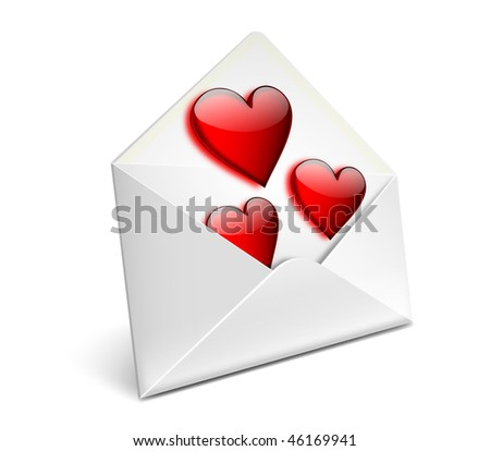 Envelope with glassy red hearts for valentine day - EPS 10 vector icon - stock vector