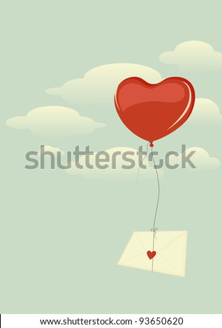 Envelope with heart flying high in the sky on a heart-shaped balloon - stock vector