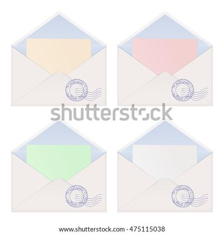 envelope letter inside colored paper vector stock vector 475115038