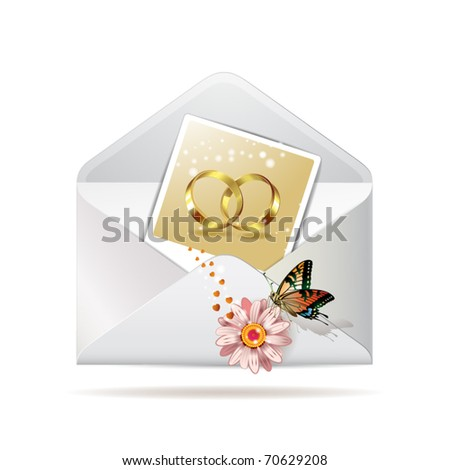 Envelope with photo of  two wedding ring, isolated on white background