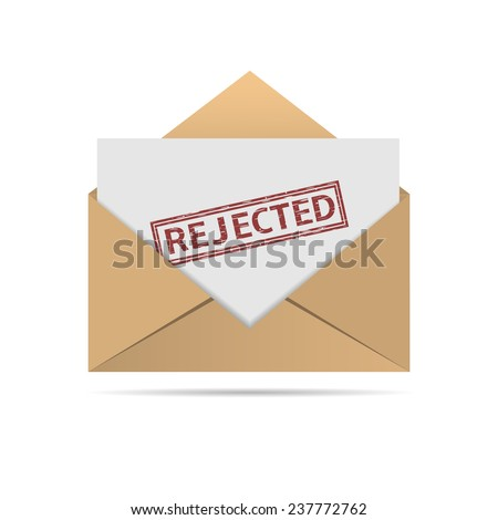 Envelope with Rejected letter on the white background. Vector illustration. - stock vector