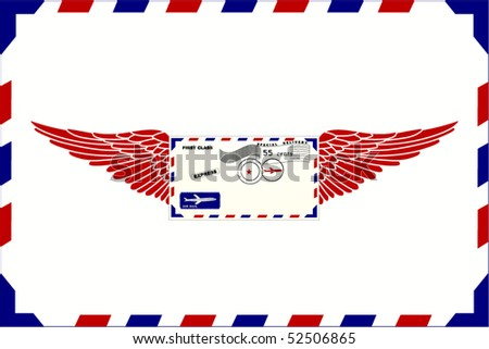 Envelope with wings (Use background as envelope as well) - stock vector