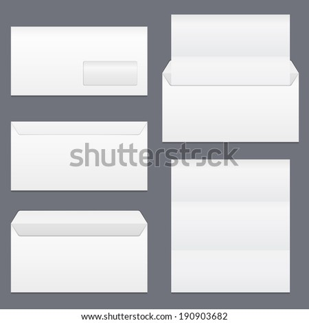 Envelopes and blank paper, vector eps10 illustration - stock vector