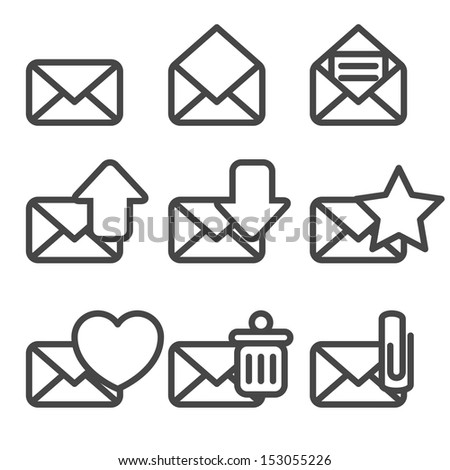 Envelopes Icons - stock vector