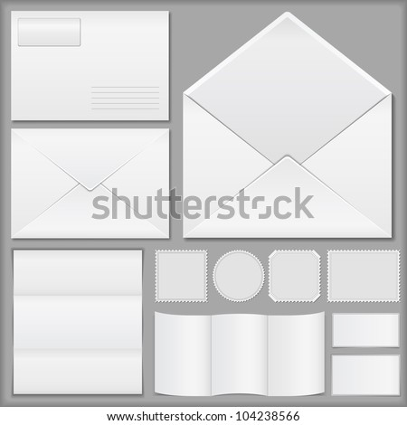 Envelopes, paper and postage stamps, vector eps10 illustration - stock vector