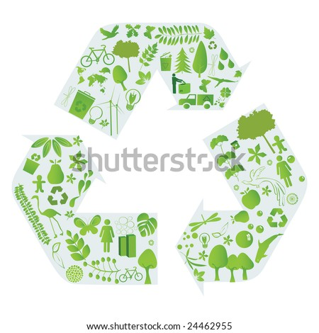 environment and design elements in blue recycling arrows - stock vector