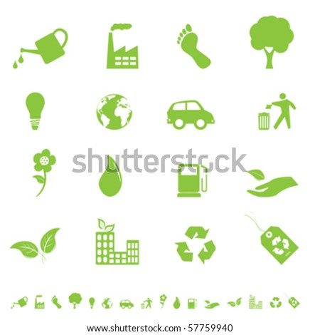 Environment and eco signs and symbols - stock vector