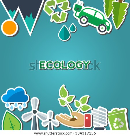 Environment and eco signs and symbols with text area - stock vector