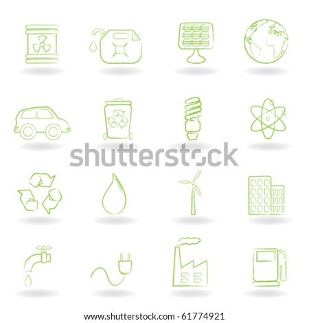 Environment and ecology icon set - stock vector