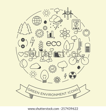 environment and electricity vector thin line symbol icon set with a label  - stock vector