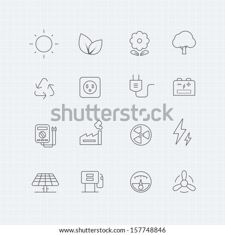 environment and power vector thin line symbol icon - stock vector