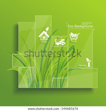 Environment concept. Grass behind the glass. - stock vector