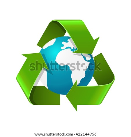 Environment day concept. Realistic vector illustration of Earth globe with recycle sign arrows isolated on white. Eco recycle symbol. World environment day image