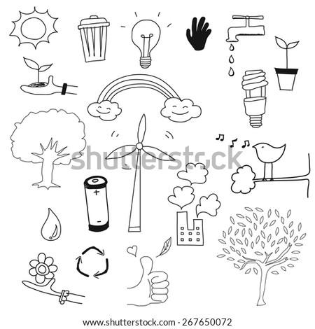 environment doodle set vector - stock vector