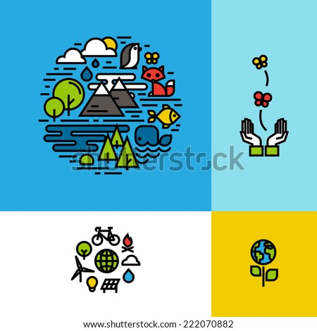 Environment, ecology, green planet colorful concepts set - stock vector
