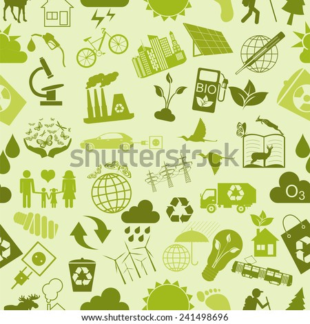 Environment, ecology seamless, pattern. Environmental background. Vector illustration