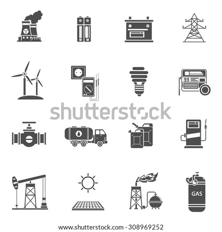 Environment friendly energy generating wind mills and solar power batteries black icons set abstract isolated vector illustration - stock vector