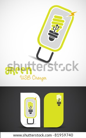 Environment-friendly usb-charger icon such logo, EPS10 vector. - stock vector