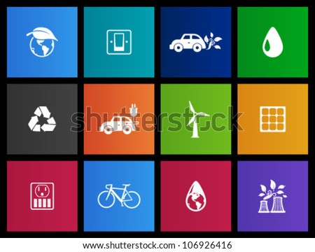 Environment  icon series in Metro style. - stock vector