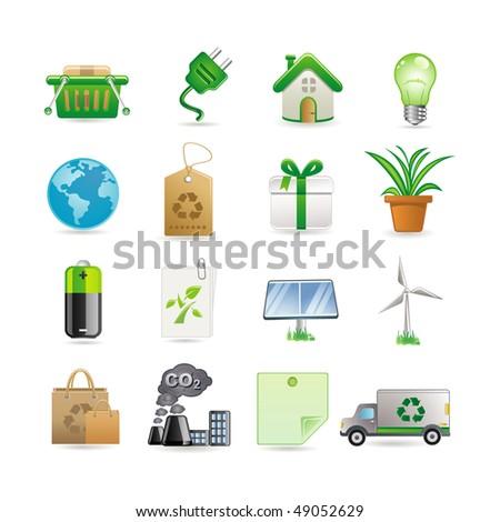 Environment icon set - stock vector
