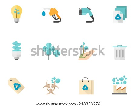 Environment icons in flat color style - stock vector