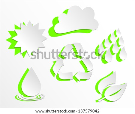 Environment Icons in the style of paper cutouts, ecology theme - all objects grouped separately and easy to edit EPS10  - stock vector