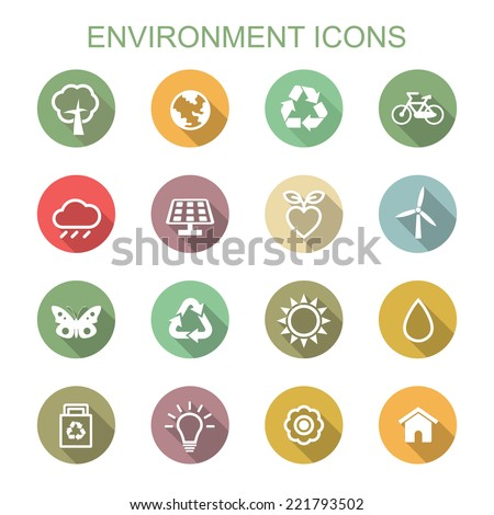 environment long shadow icons, flat vector symbols - stock vector
