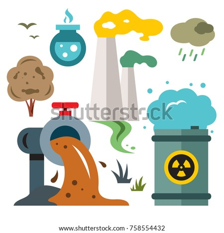 Cartoon polluted water stock images royalty free images vectors environment pollution ecology flat style colorful vector cartoon illustration sciox Gallery