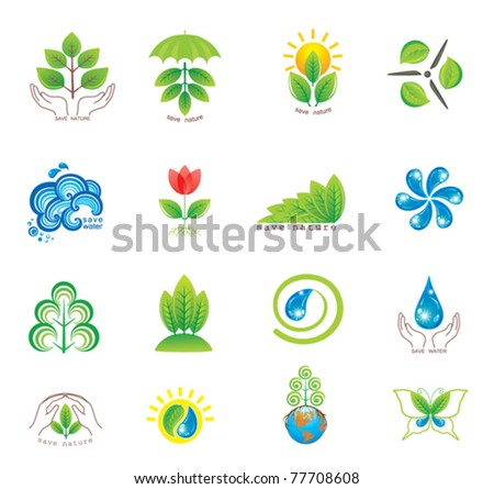 Environment. Set of  design elements and icons. - stock vector