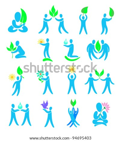 Environment. Set of vector design elements and icons. Yoga and Meditation.