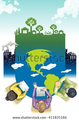Environment theme poster design with working people illustration - stock vector