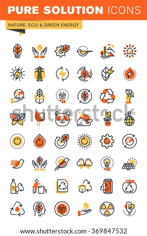 Environment thin line flat design web icons collection. Icons for web and app design, easy to use and highly customizable. - stock vector