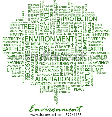 ENVIRONMENT. Word collage on white background. Vector illustration. - stock vector