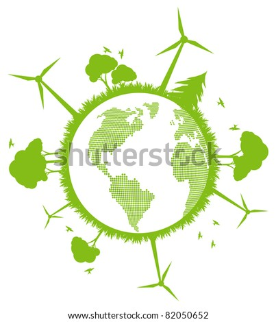 Environmental and ecology earth globe alternative energy vector concept background