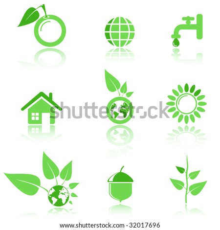 Environmental and recycling vector icons set