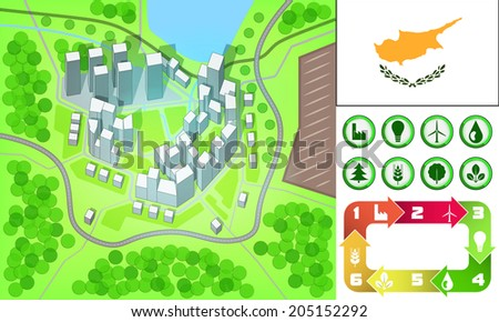 environmental city map and icons set with Cyprus flag vector illustration