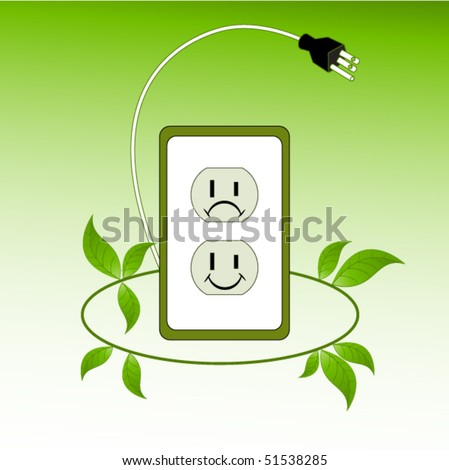 Environmental concept - socket leaves plug  with happy and sad faces (layered for easy changes) - stock vector