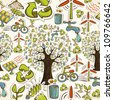 Environmental conservation hand drawn icons seamless pattern background. Vector illustration layered for easy manipulation and custom coloring. - stock photo