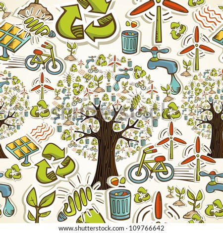 Environmental conservation hand drawn icons seamless pattern background. Vector illustration layered for easy manipulation and custom coloring. - stock vector